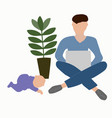 paternity leave father with a baby vector image