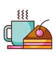 piece cake and coffee cup food dessert bakery vector image vector image