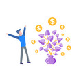 plant with foliage money tree with leaves coins vector image