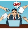 Pop Art Stressed Businessman at Multitasking Work vector image vector image