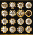 premium quality golden badges collection vector image vector image