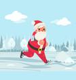 santa claus christmas weight loss outdoor running vector image vector image