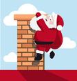 santa hanging on chimney vector image