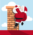 Santa hanging on the chimney vector image vector image