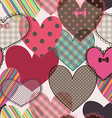 Seamless pattern of scrapbook hearts vector image