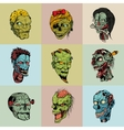 Set of nine drawn image with the zombie vector image