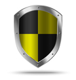 Silver shield with yellow chessboard pattern vector image vector image