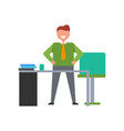 smiling male on workplace vector image vector image