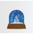 snow ball snow globe with snow fall and snowman vector image