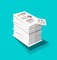 stack of paper business documents with graphs and vector image vector image