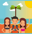 summer people vacations vector image vector image
