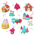 sweet candy icon set isolated vector image