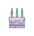 tasty cake with candle to party celebration vector image vector image