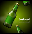template for beer advertising green bottle vector image