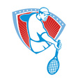 Tennis Player Racquet Shield Retro vector image vector image