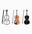 violin instrument cartoon music graphic vector image