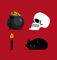 witch set magical pot and skull black cat and vector image vector image