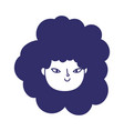 Young woman face cartoon character female icon