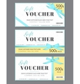 Gift voucher template with blue silk ribbon and a vector image