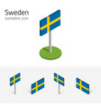 sweden flag set of 3d isometric icons vector image