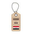 hang tag made in iraq with flag icon isolated on a vector image