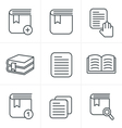 Line Icons Style Book Icons Set Design vector image