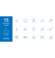 15 wood icons vector image vector image