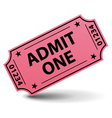 Admit one pink ticket vector | Price: 1 Credit (USD $1)