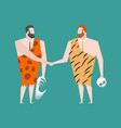 ancient businessman deal neanderthal agreement vector image