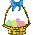 basket with easter eggs basket with easter vector image vector image