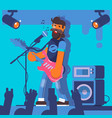 bass guitarist plays on the electric guitar rock vector image vector image