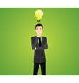 businessman think with light bulb vector image