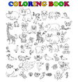 coloring book of big animal cartoon set vector image