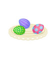 cute easter eggs with ornaments on round fabric vector image vector image