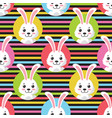 cute little bunny striped seamless pattern vector image