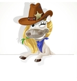Cute white Horse with big banner vector image vector image