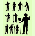 farmer gesture silhouette vector image vector image
