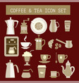 flat tea and coffee icons for web design vector image vector image