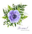 floral elegant botanical violet anemone bouquet vector image vector image