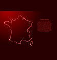 france map from contour red brush lines and vector image vector image