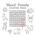 Funny animals coloring book word puzzle
