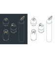 gas cylinders drawings set vector image