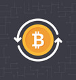 golden bitcoin with circle arrows vector image vector image
