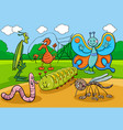 happy insects and bugs cartoon characters group vector image vector image