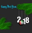 happy new year and 2018 on a tree branch vector image