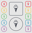 ice cream icon sign symbol on the Round and square vector image vector image