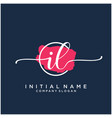 il initial handwriting logo design with brush vector image vector image