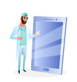 male doctor in glasses touch big smartphone screen vector image