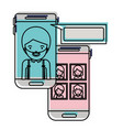 man and group social network chat in smartphone in vector image