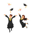 man and woman graduates vector image
